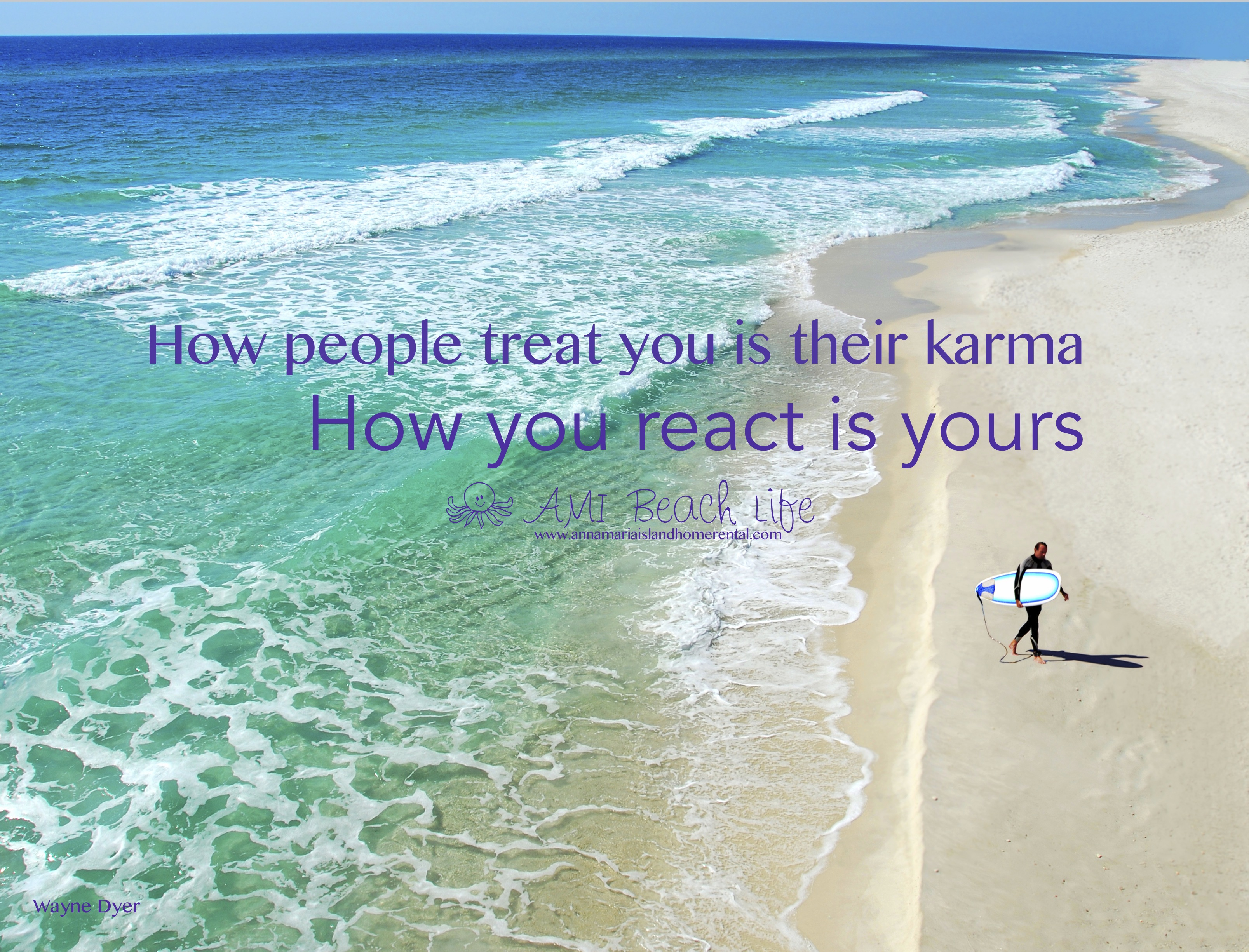 Karma quote with surfer on the beach