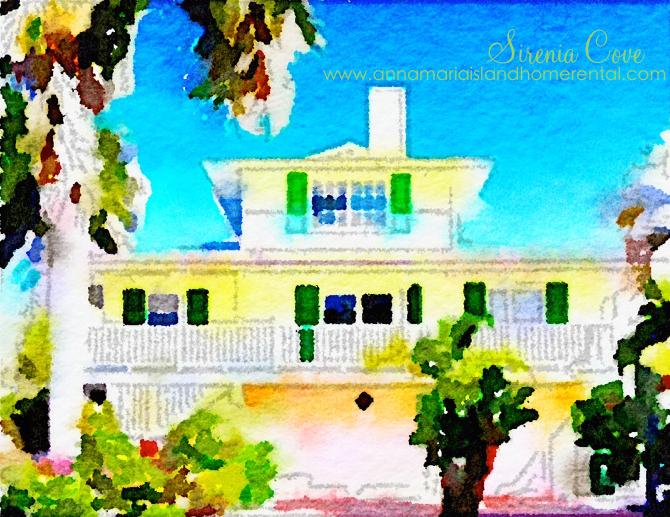 Florida Architecture Watercolour Sirenia Cove Vacation Rental
