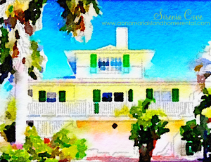 Watercolour of Sirenia Cove Cottage Vacation Rental on Anna Maria Island, Florida