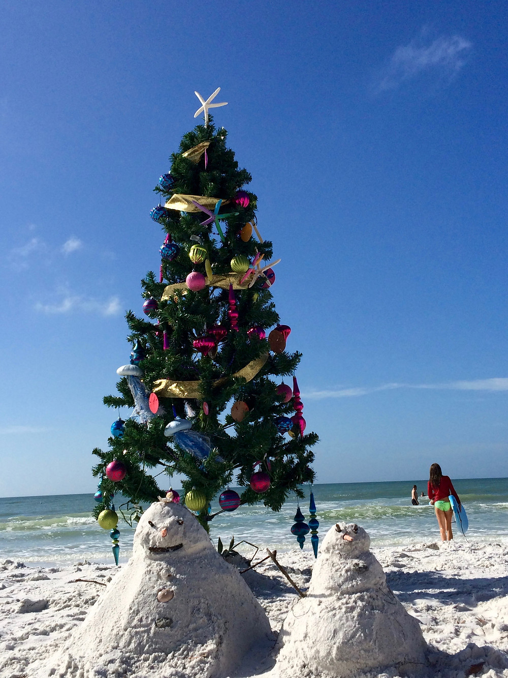 Anna Maria Island Home Rental Christmas Tree on Beach