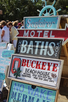 Signs from Beach Market on Anna Maria Island