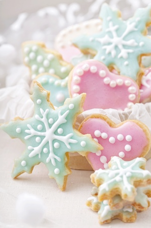 coastal christmas cookies pastel