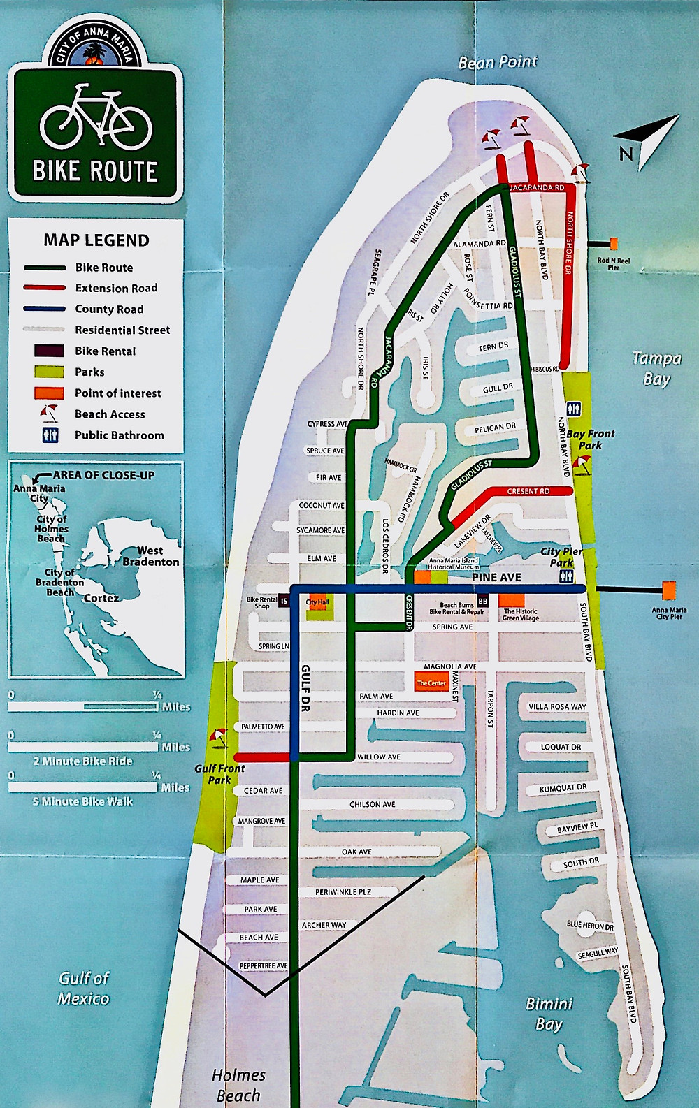 Anna Maria Island Bike Route Map