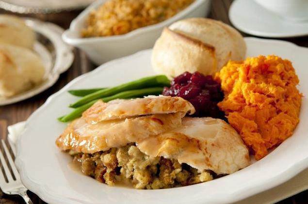 Festive Turkey Dinner from a Restaurant