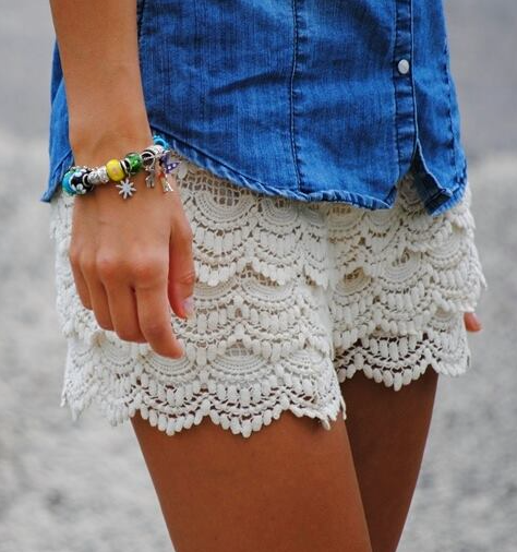 fringe lace shorts - Saltair