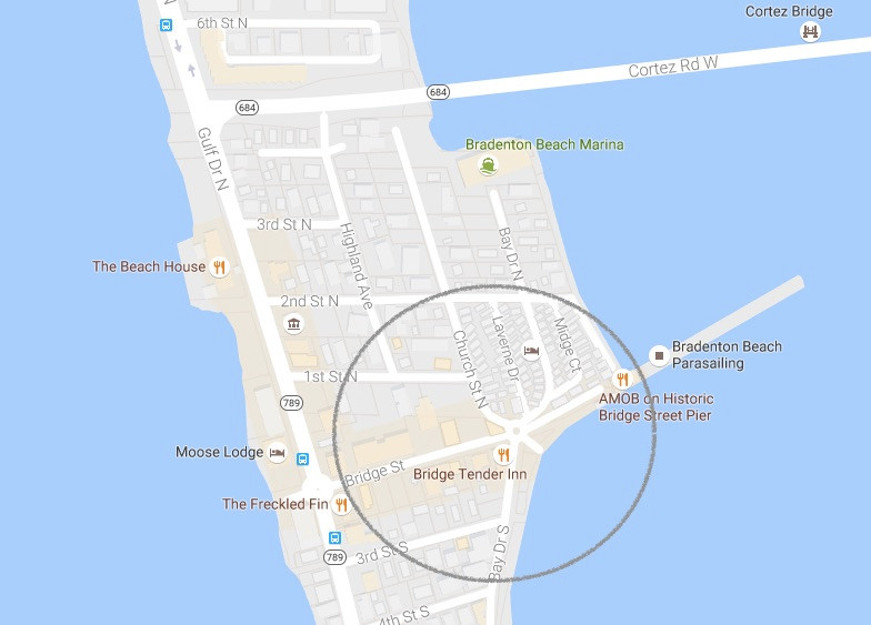 Map of Bridge Street, Bradenton Beach, Florida - Anna Maria Island Home Rental