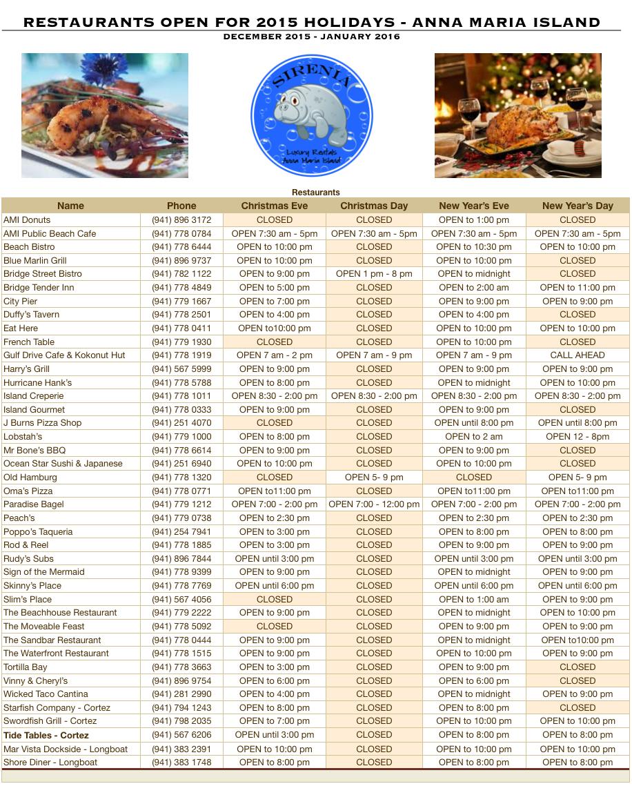 Holiday 2015 Restaurant Schedule for Anna Maria Island