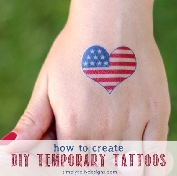 DIY temporary tattoos - American Flag Heart