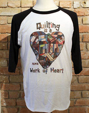 Quilting is a Work of Heart Raglan (Black)