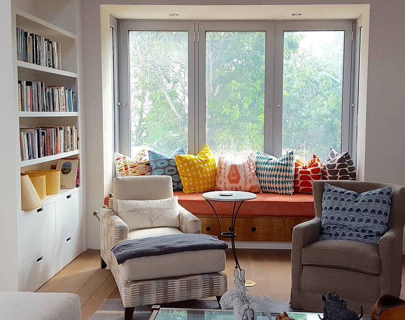 Sarah Watermeyer Design study with armchairs bay window reading nook white joinery bookshelves