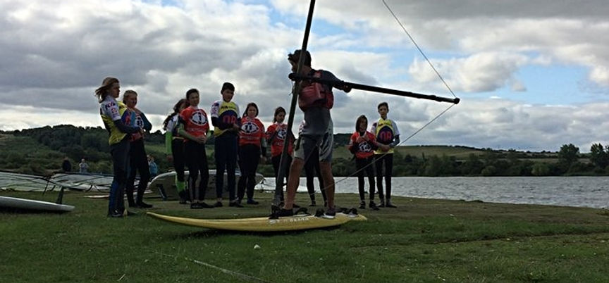 people learning to windsurf at broglake near milton keynes and bedford getting active sunny fun