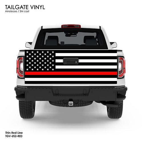 US FLAG TAILGATE VINYL v.2 (RED)