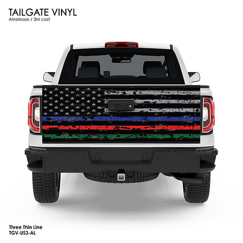 US FLAG TAILGATE VINYL v.3 (BLUE, RED and GREEN)