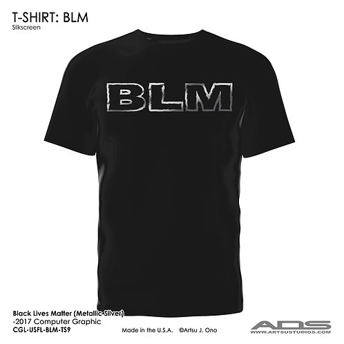 "BLM T-shirt: ""BLM"" Metallic Silver"