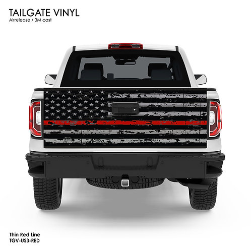 US FLAG TAILGATE VINYL v.3 (RED)