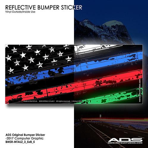 US FLAG: Reflective Bumper Sticker (1p)