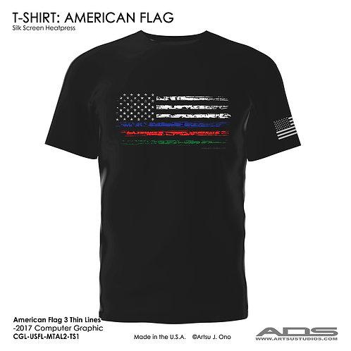 US Flag T-shirt: Three Thin Line
