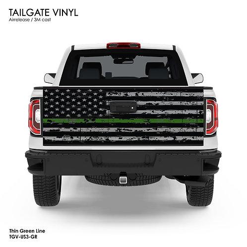 US FLAG TAILGATE VINYL v.3 (GREEN)