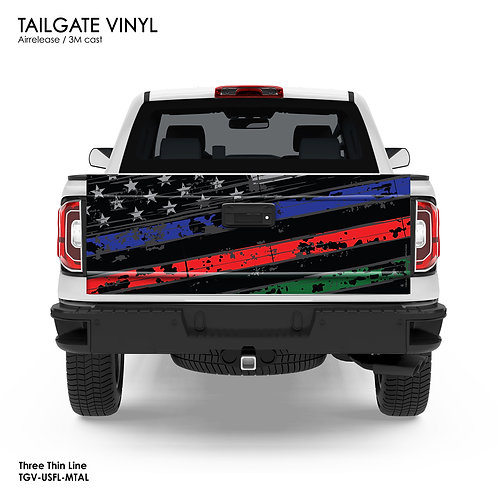 US FLAG TAILGATE VINYL (BLUE, RED and GREEN)