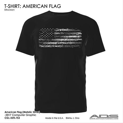 US Flag T-shirt: Metallic Silver