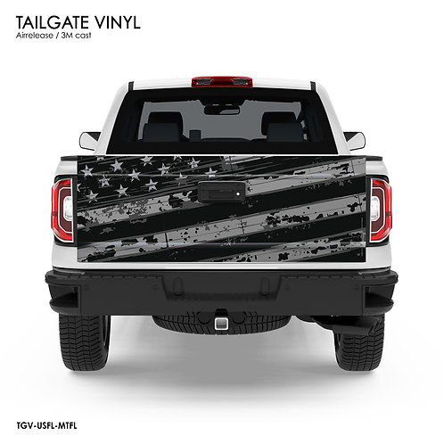 US FLAG TAILGATE VINYL (GRAY)