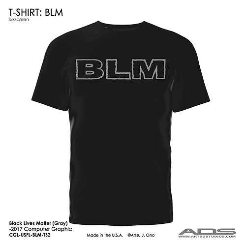 "BLM T-shirt: ""BLM"" Light Gray"