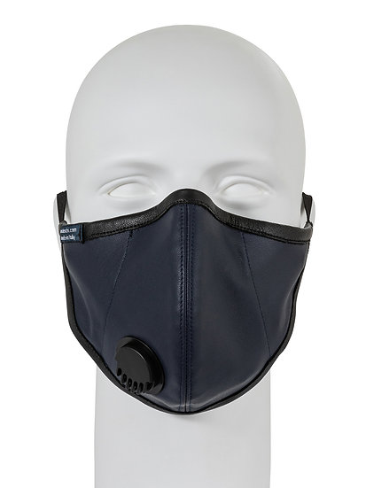 AT-MASK mascherina fashion in pelle blu con valvola vista frontale, fashion leather mask with valve blue front view