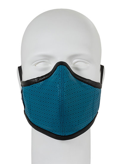 AT-MASK mascherina fashion in pelle avio vista frontale, leather fashion mask avio front view