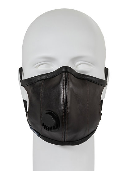 AT-MASK mascherina in pelle fashion marrone con valvola vista frontale, leather fashion mask brown with valve front view