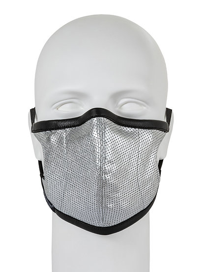 AT-MASK mascherina in pelle fashion argento vista frontale, fashion leather mask silver front view