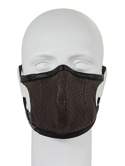 AT-MASK mascherina in pelle fashion marrone vista frontale, leather fashion mask brown front view
