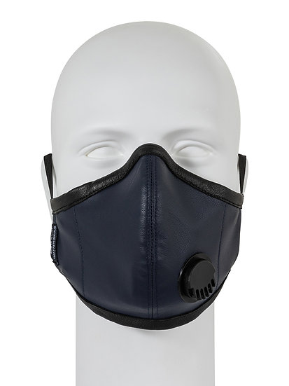 AT-MASK mascherina fashion in pelle blu con valvola vista frontale, fashion leather mask blue with valve front view