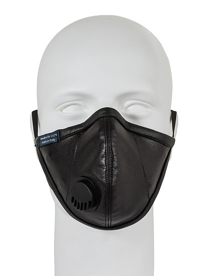 AT-MASK mascherina fashion in pelle nera con valvola vista frontale, fashion leather mask with valve black front view