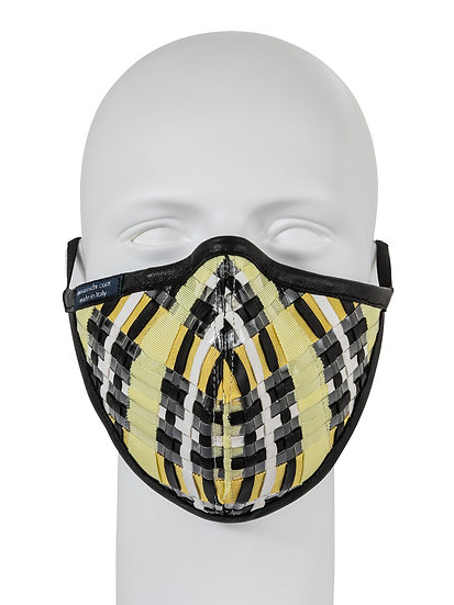 AT-MASK mascherina fashion in pelle intrecciata gialla vista frontale, fashion mask in yellow woven leather front view