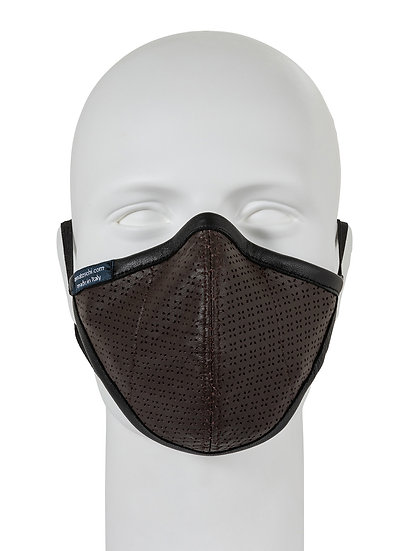 AT-MASK mascherina fashion in pelle marrone vista frontale, fashion leather mask brown front view