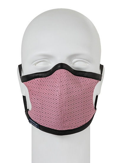 AT-MASK mascherina in pelle rosa fashion vista frontale, pink leather mask front view