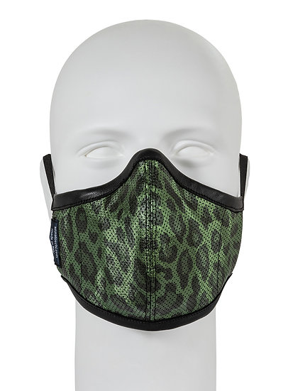AT-MASK mascherina fashion in pelle leopardo vista frontale, fashion leather mask leopard front view