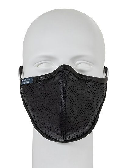 AT-MASK mascherina fashion in pelle blu notte vista frontale, fashion leather mask dark blue front view