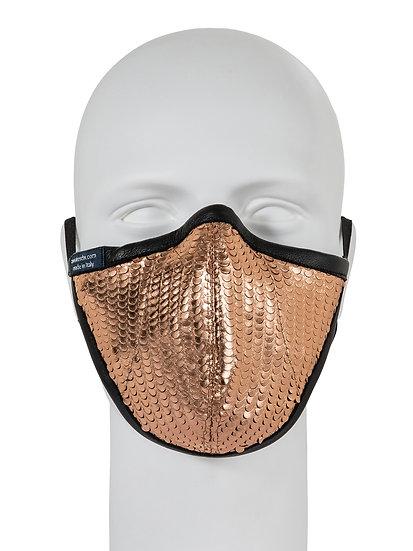 AT-MASK mascherina fashion in pelle metallic pesca vista frontale, fashion leather mask metallic peach front view