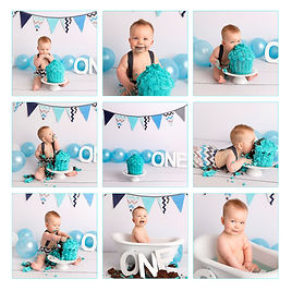 Grey and blue cake smash baby boy with gippsland photographer