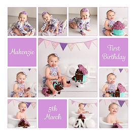 Purple and green baby girl cake smash