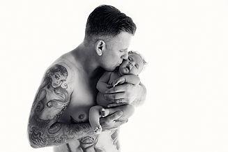 Newborn baby girl with daddy