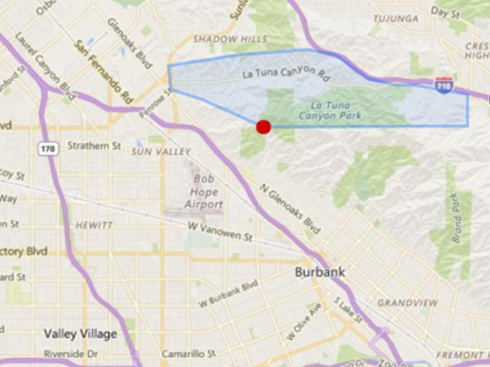 La Tuna Canyon, Courtesy Bing Maps