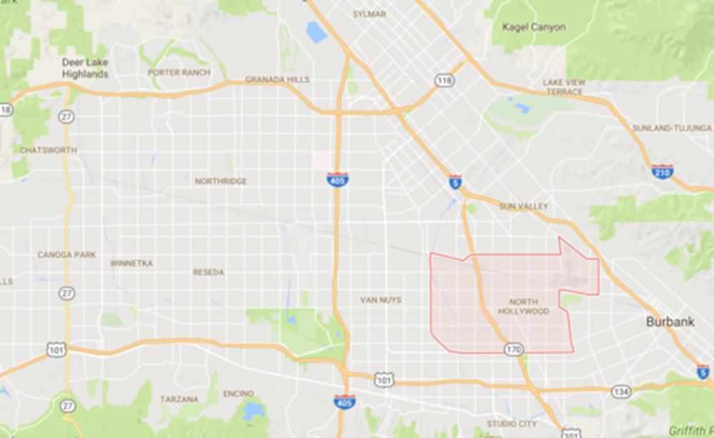 North Hollywood, Courtesy Google Maps