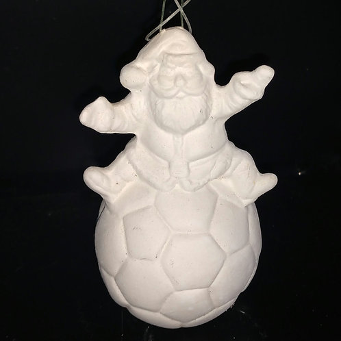 Santa on soccer ball ornament