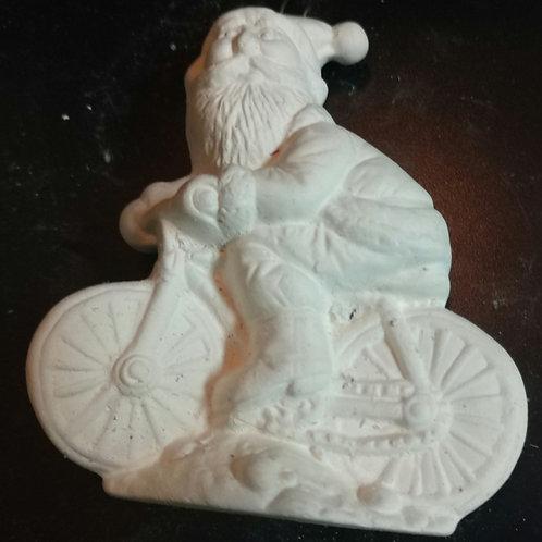 Santa on bicycle ornament