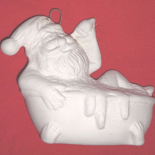 Santa in bathtub ornament