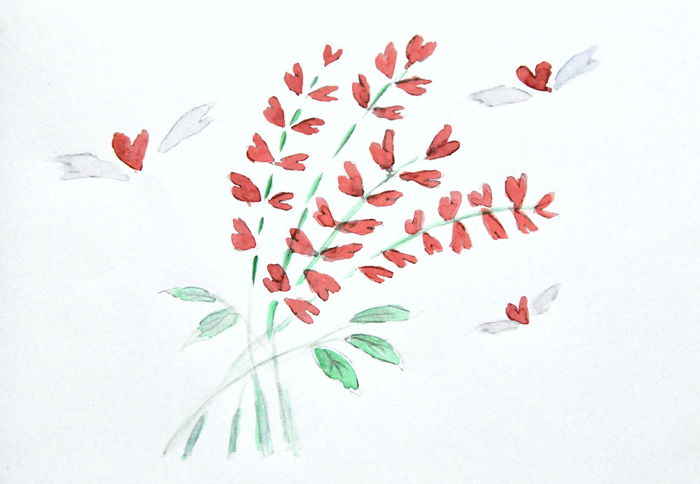 Heart flowers hearts wings red bouquet valentine
