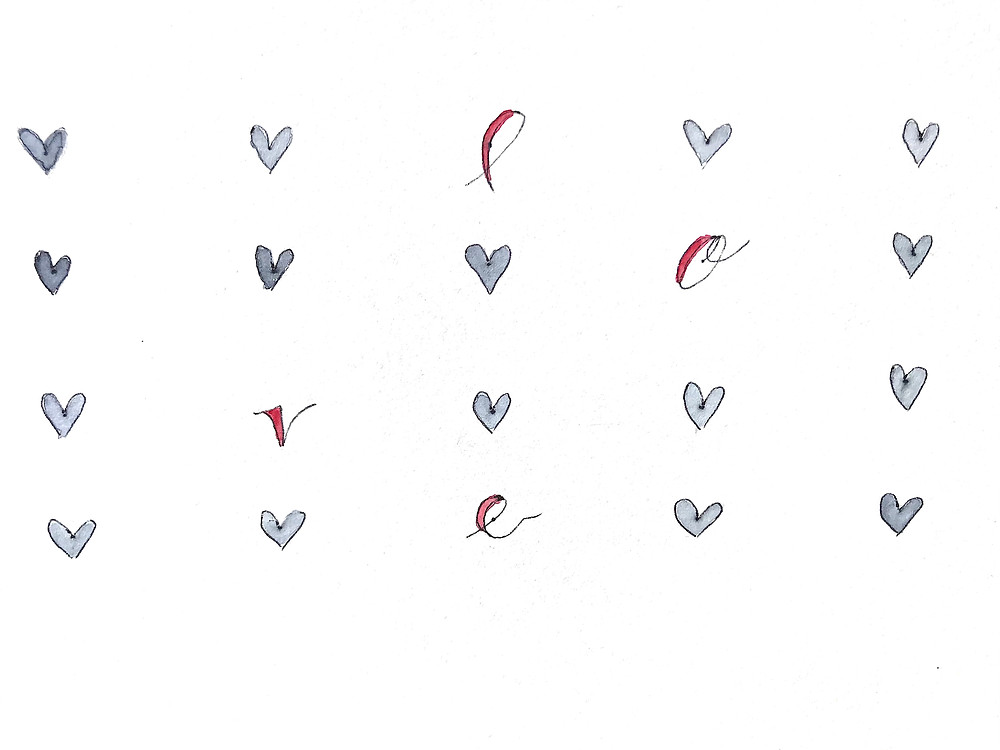 hearts February art love black red love valentine