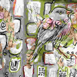 art journaling, bird, painting, collage, mixed media, write, paste, create